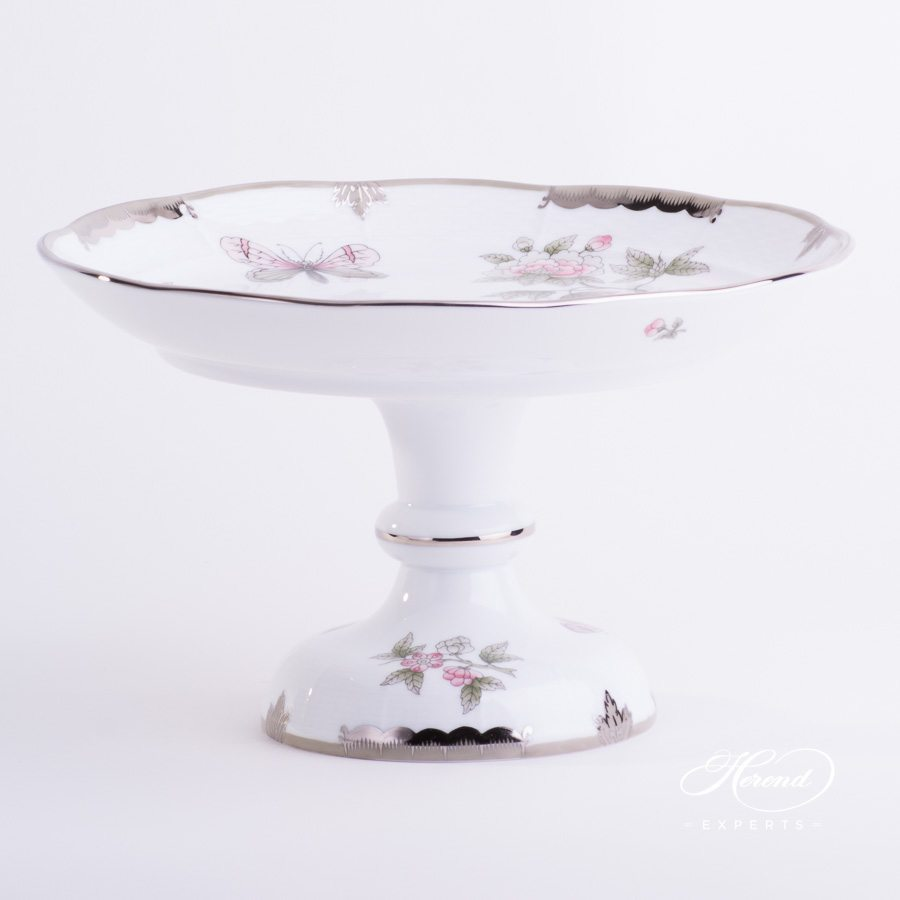 Cake Stand 311-0-00 VBOG-X1-PT Queen Victoria Platinum design. Herend fine china hand painted. Modern style tableware