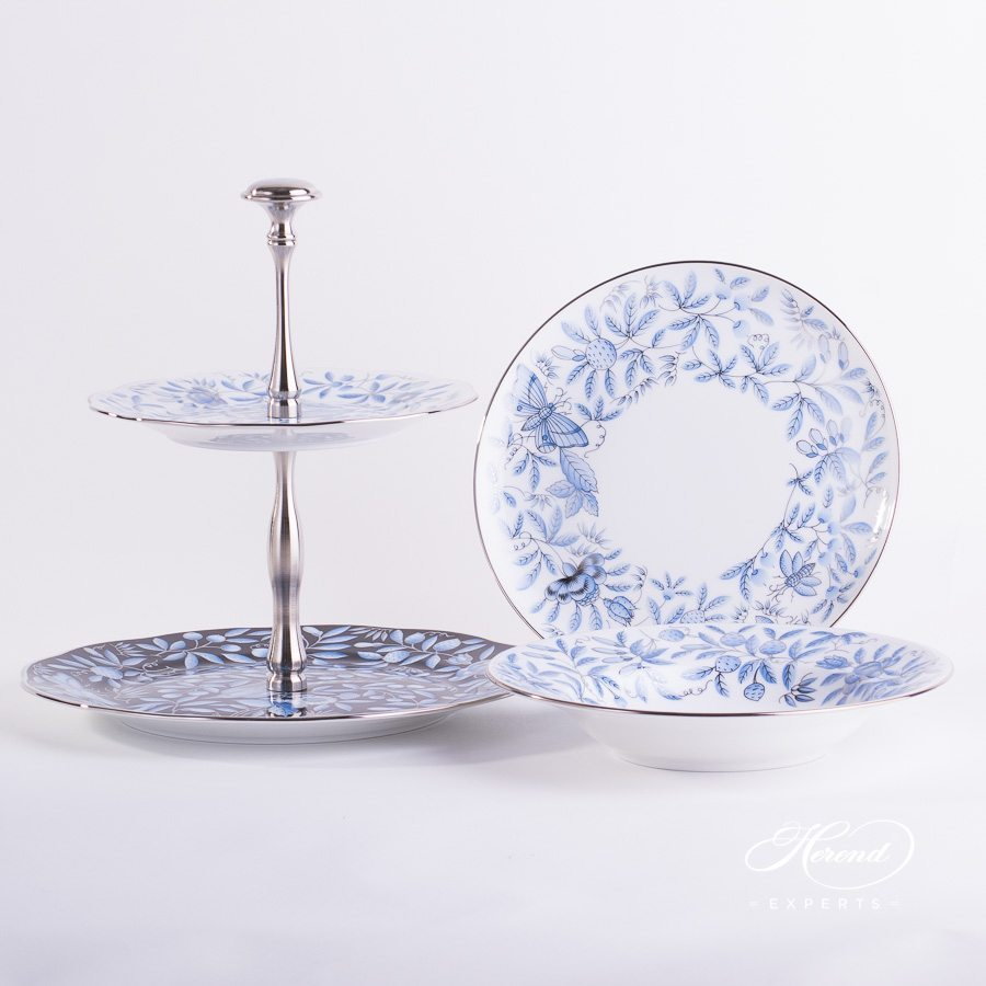 Cake Stand 2 Tier 20308-0-91 ZOBA-PT Blue pattern. Herend porcelain hand painted
