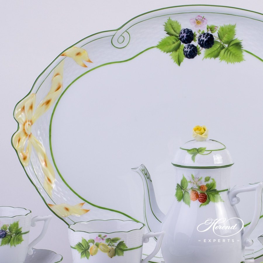 Coffee Set for 4 Person- Herend Berried Fruits BAC design. Herend fine china