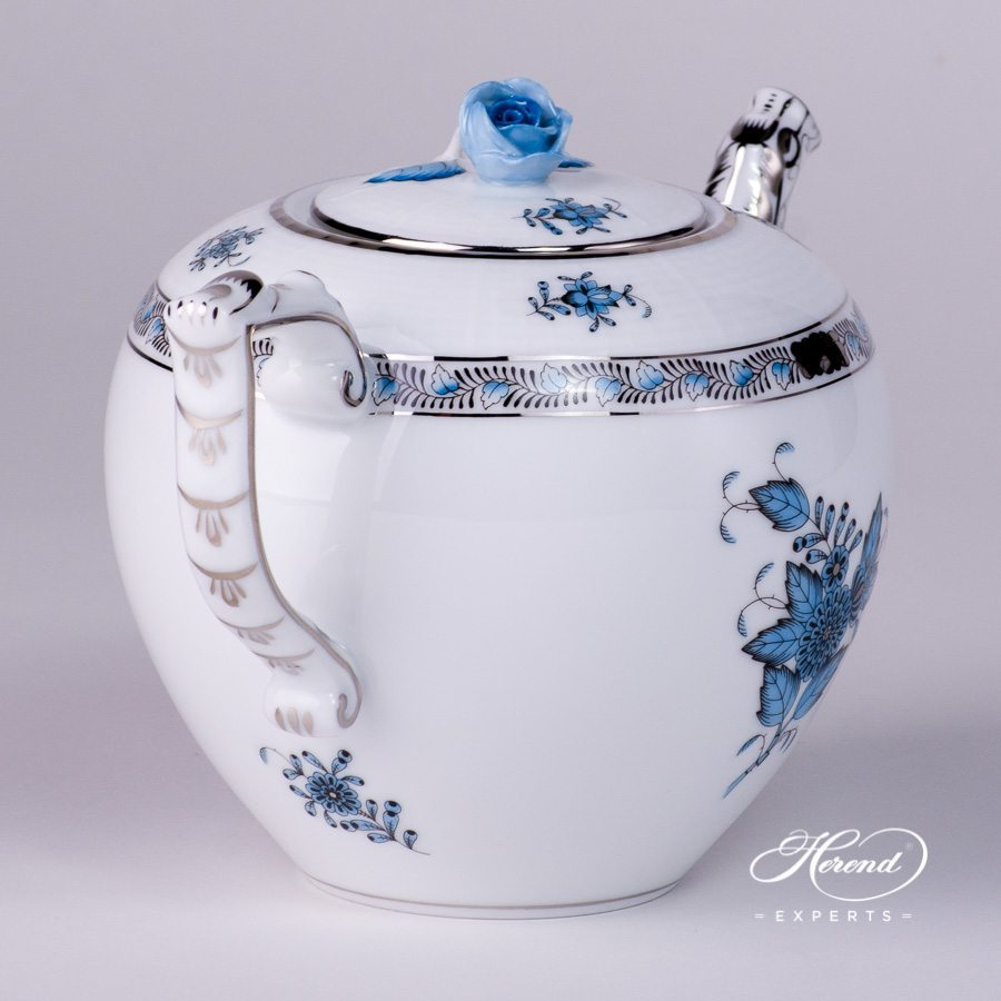 Tea Pot with Rose Knob 605-0-09 ATQ3-PT Chinese Bouquet Turquoise pattern. Herend porcelain hand painted