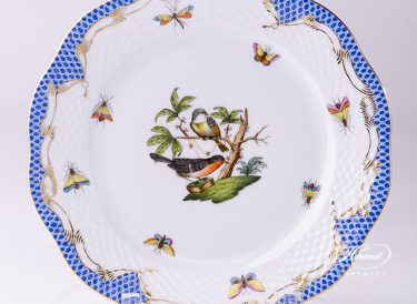 "Dessert Plate 519-0-00 RO-ETB Rothschild Bird Blue Fish Scale design. Herend fine china tableware. Hand painted. Diameter 21 cm (8.25""D)."
