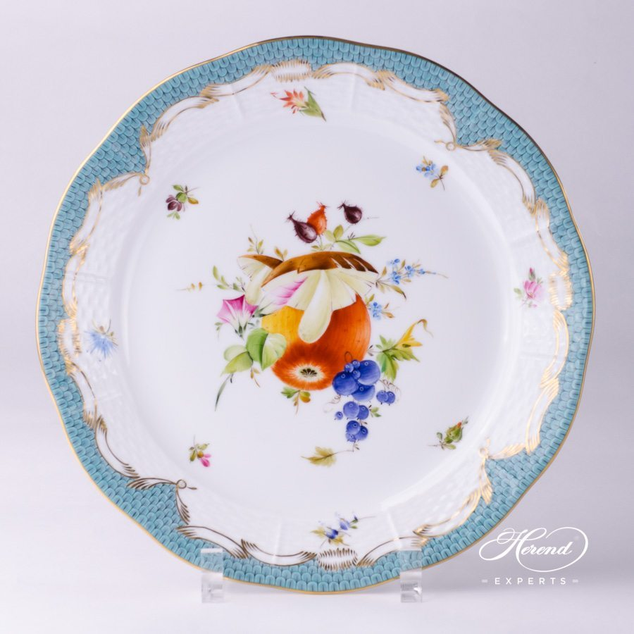 Dinner Plate 524-0-00 CFR-ET Fruits with Turquoise Fish scale pattern - Herend porcelain hand painted.