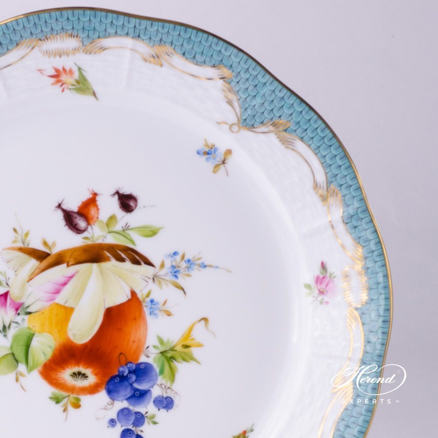 Dinner Plate 524-0-00 CFR-ET Fruits with Turquoise Fish scale pattern - Herend fine china.