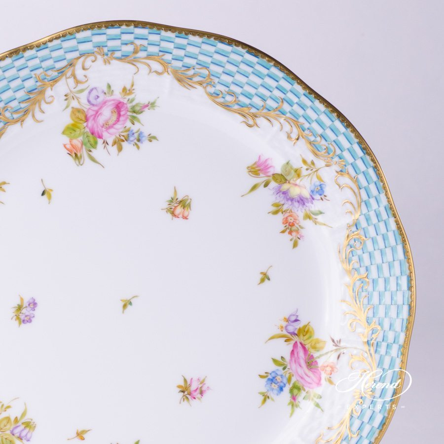 Dinner Plate 524-0-00 CBTA Flowers with Square Scale pattern - Herend fine china.