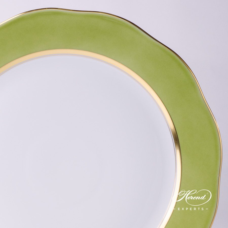 Serving Plate or Round Dish CV3 green edge pattern - Herend porcelain hand painted.