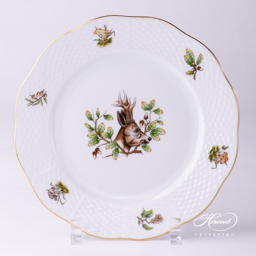 Dessert Plate 517-0-00 CHTM Forest Animals pattern w. Gold rim. Herend fine china