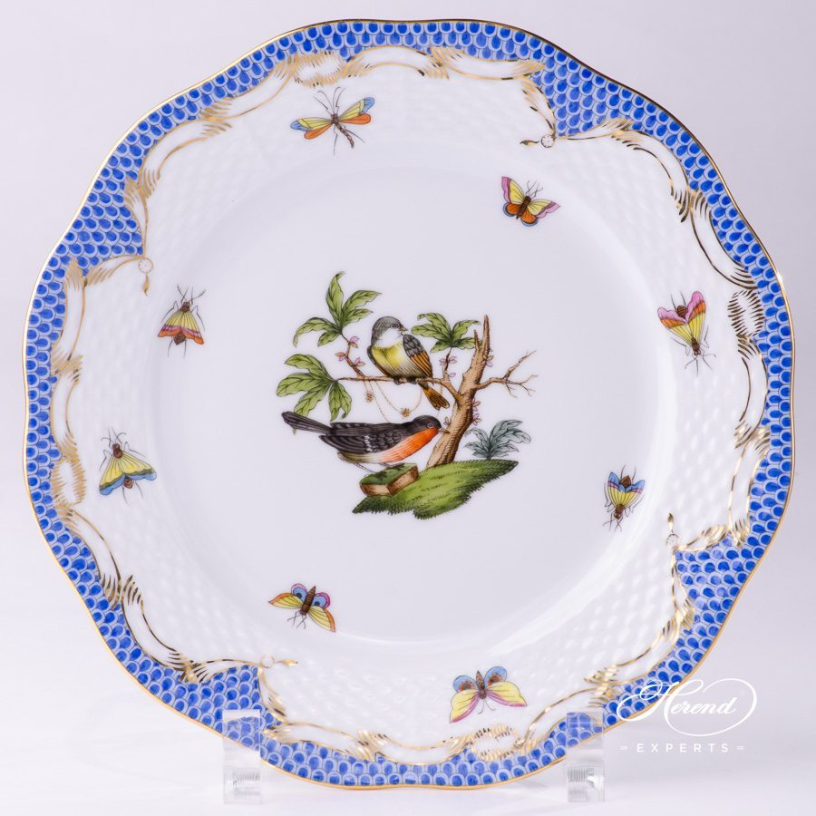 Dessert Plate 517-0-00 RO-ETB Rothschild Bird Blue Fish Scale design. Herend fine china tableware. Hand painted