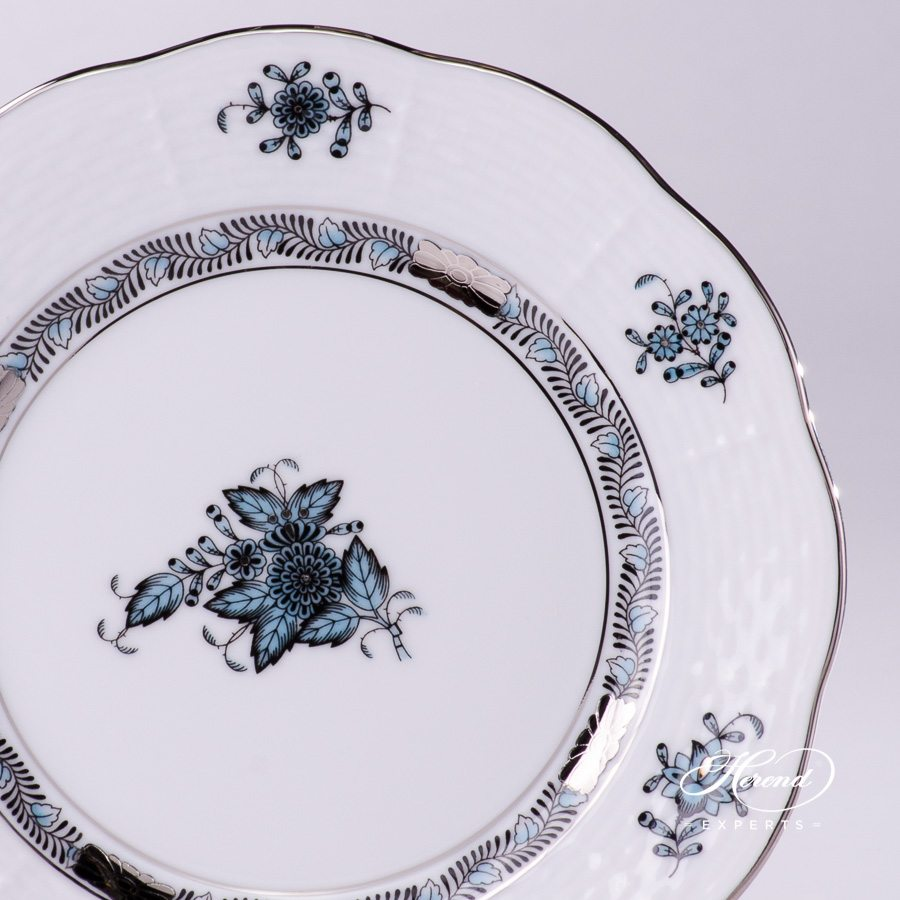 Dessert Plate 517-0-00 ATQ3-PT Chinese Bouquet / Apponyi Turquoise w. Platinum design. Herend fine china