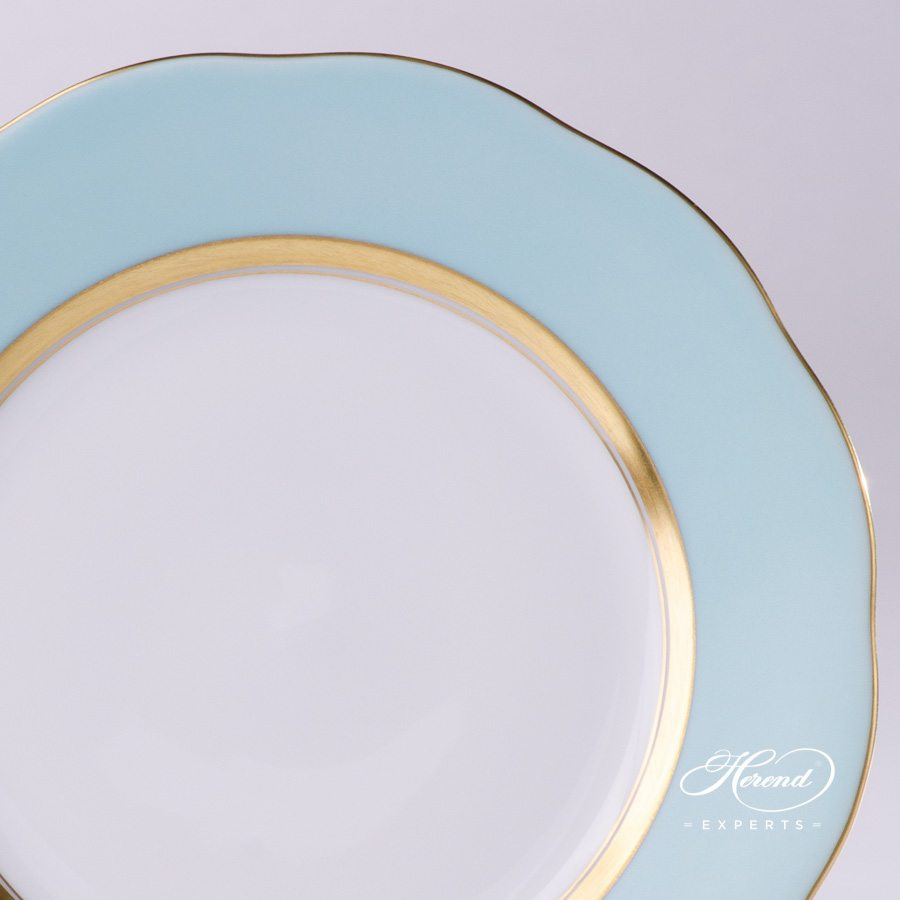 Dessert Plate 20517-0-00 CTQ1 Turquoise edge pattern - Herend porcelain hand painted.