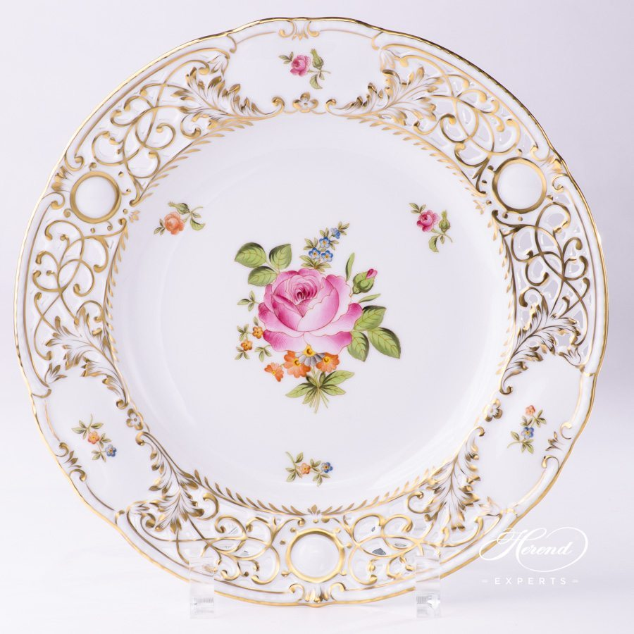 Wall Plate 8429-0-50 PBR Small Bunch of Roses pattern - Open work - Herend porcelain hand painted.