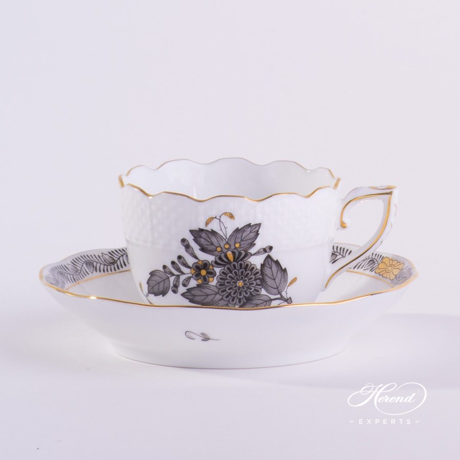 Mocha Cup with Saucer 711-0-00 ANG Apponyi Gray pattern – Herend porcelain hand painted.