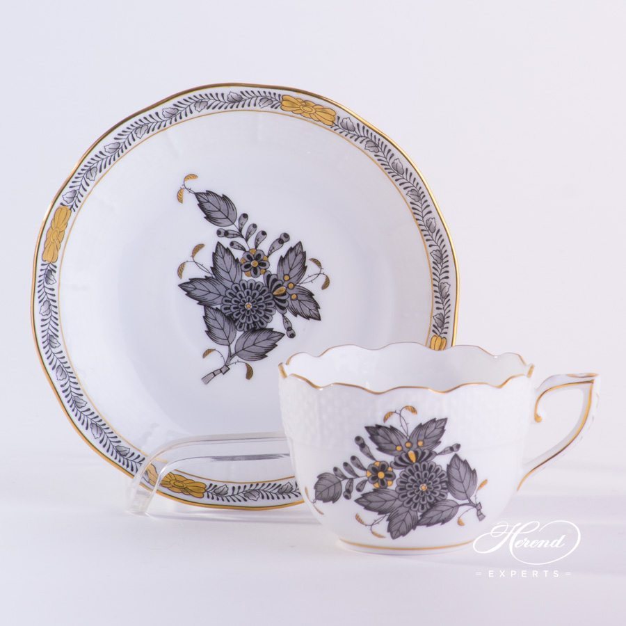 Coffee / Espresso Cup w. Saucer 711-0-00 ANG Chinese Bouquet / Apponyi Black design. Demitasse. Herend fine china