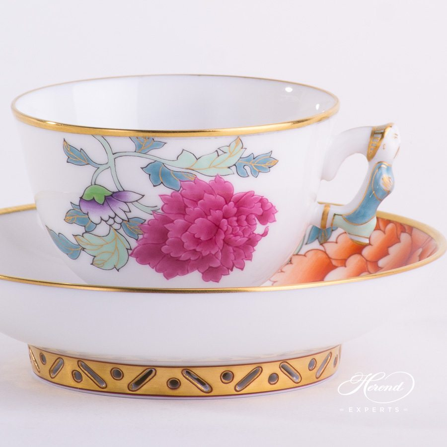 Coffee / Espresso Cup w. Saucer 3371-0-21 PVR Pink Peony design. Herend fine china hand painted. Classical and Oriental style tableware