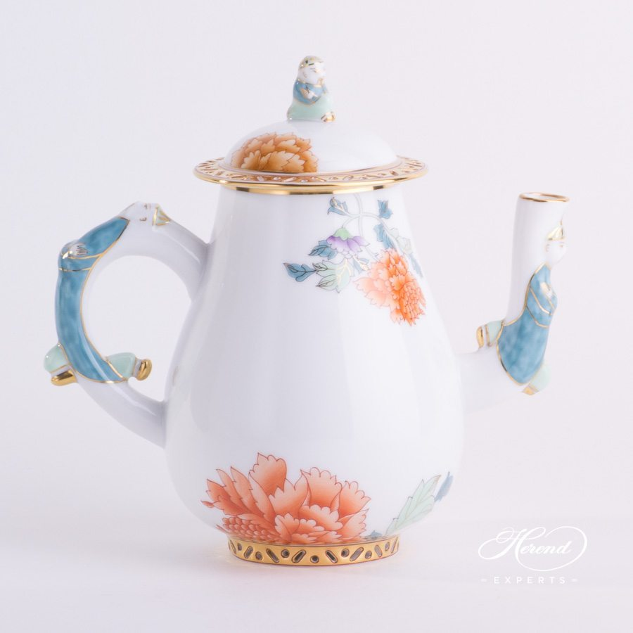 Coffee Pot 3314-0-21 PVR Pink Peony pattern. Herend porcelain hand painted