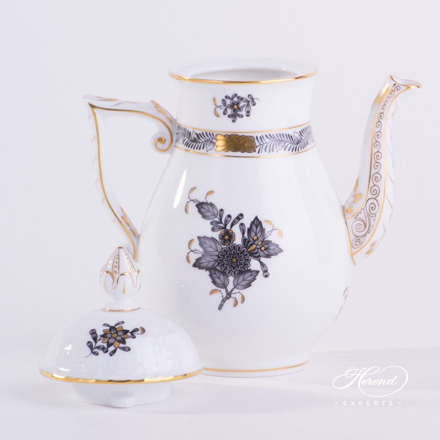 Coffee Pot or Mocha Pot with Acanthus Knob 615-0-23 ANG Apponyi Gray pattern. Herend porcelain hand painted