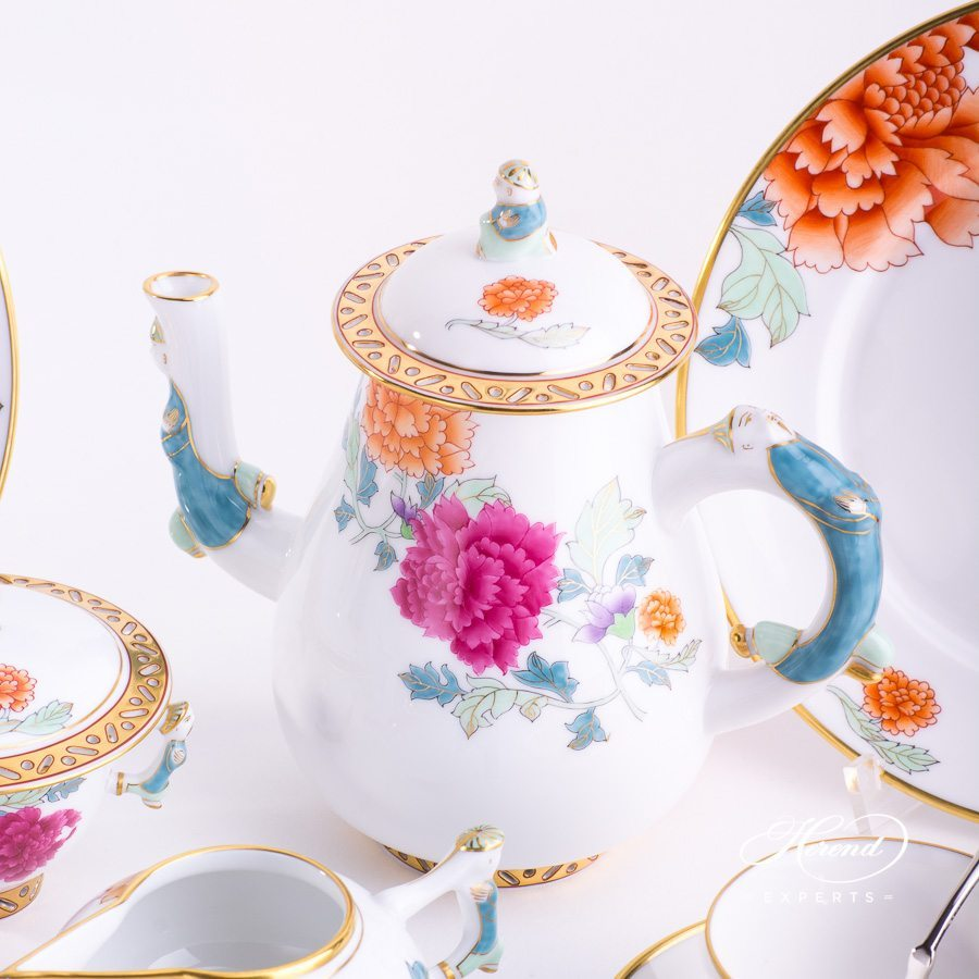 Coffee Set or Mocha Set for 2 persons Pink Peony PVR pattern. Herend porcelain hand painted