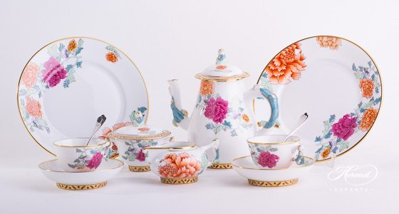 Coffee / Espresso Set for 2 Persons - Herend Pink Peony PVR design. Herend fine china hand painted. Classical and Oriental style tableware