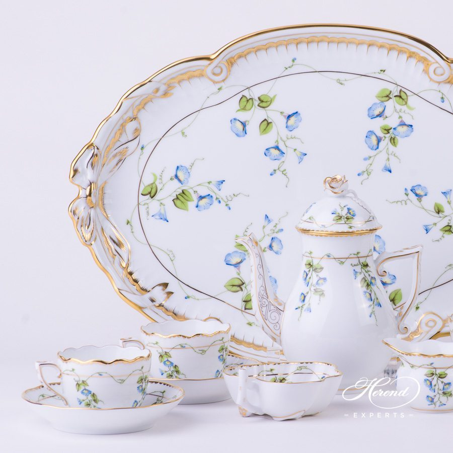 Coffee / Espresso Set for 4 Persons w. Ribbon Tray - Herend Nyon / Morning Glory design. Herend fine china tableware. Hand painted
