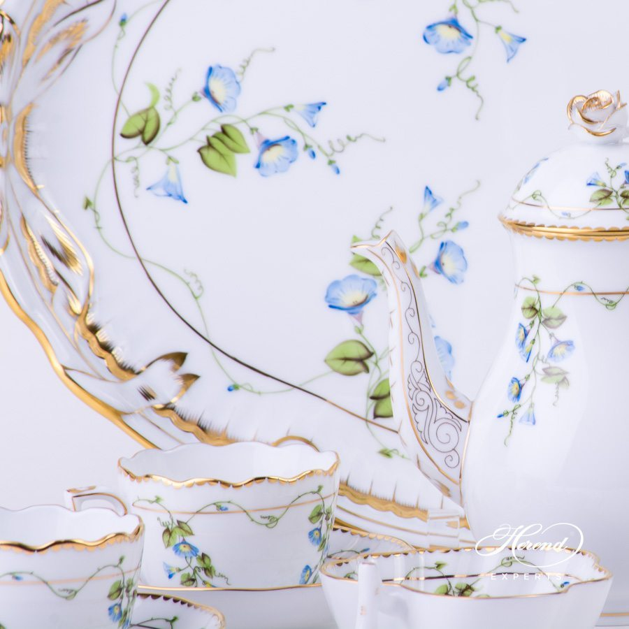 Coffee / Espresso Setfor4 Persons w. Ribbon Tray - Herend Nyon / Morning Glory design. Herend fine china tableware. Hand painted