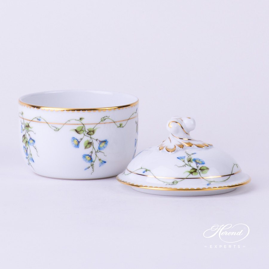 Sugar Basin w. Twisted Knob 20463-0-06 NY Nyon / Morning Glory Flower pattern. Herend fine china. Hand painted Classic style