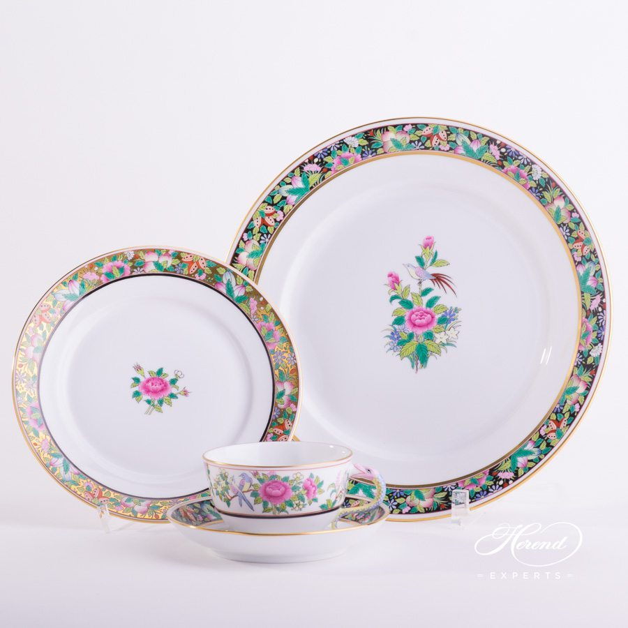 Dessert Plate ROSE-OR and Dinner Plate ROSE-FN with Tea Cup ROSE pattern - Herend porcelain hand painted.