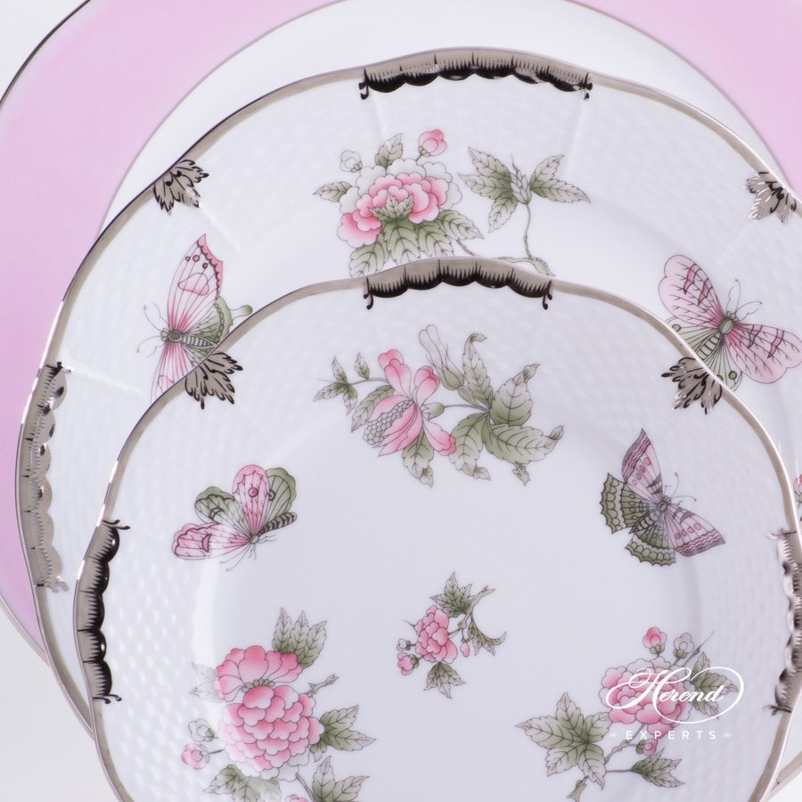 Place Setting 3 Pieces - Herend Queen Victoria Platinum VBOG-X1-PT pattern. Serving Plate, Dinner Plate and Dessert Plate. Herend fine china hand painted