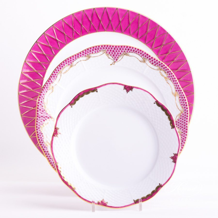 Place Setting 3 Piece Pink Mixed painted in Pink colour - Herend fine china hand painted.