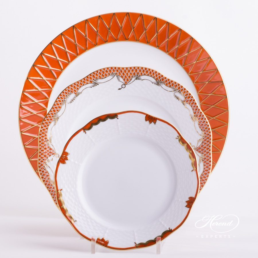 Place Setting 3 Piece Orange Mixed painted in Orange colour - Herend fine china hand painted.