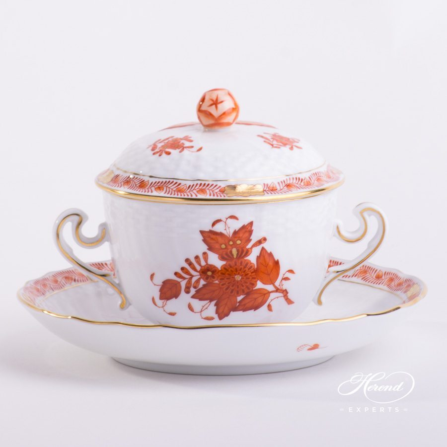 Soup Cup with Saucer 1718-0-12 AOG Chinese Bouquet Rust / Apponyi Orange decor. Lid with Bud Knob. Herend porcelain hand painted