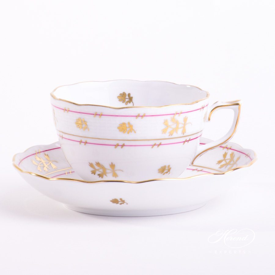 Tea Cup w. Saucer 701-0-00 BATP Batthyany Purple pattern. Herend fine china hand painted. Classic style tableware