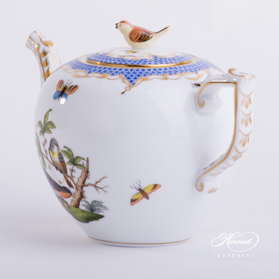 Tea Pot with Bird Knob 606-0-05 RO-ETB Blue Fish Scale pattern. Herend porcelain hand painted