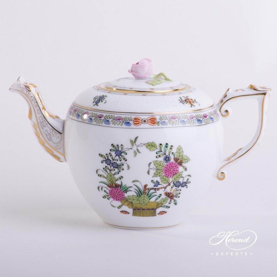 Tea Pot with Rose Knob 606-0-09 FD Indian Basket pattern. Herend porcelain hand painted