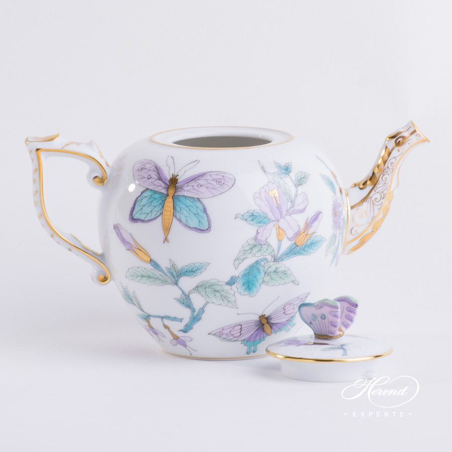 Tea Pot with Butterfly Knob 606-0-17 EVICT2 Royal Garden Turquoise pattern. Herend porcelain hand painted