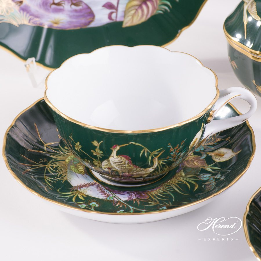 Tea Set for 2 Persons Waterfowl - Green background Special pattern