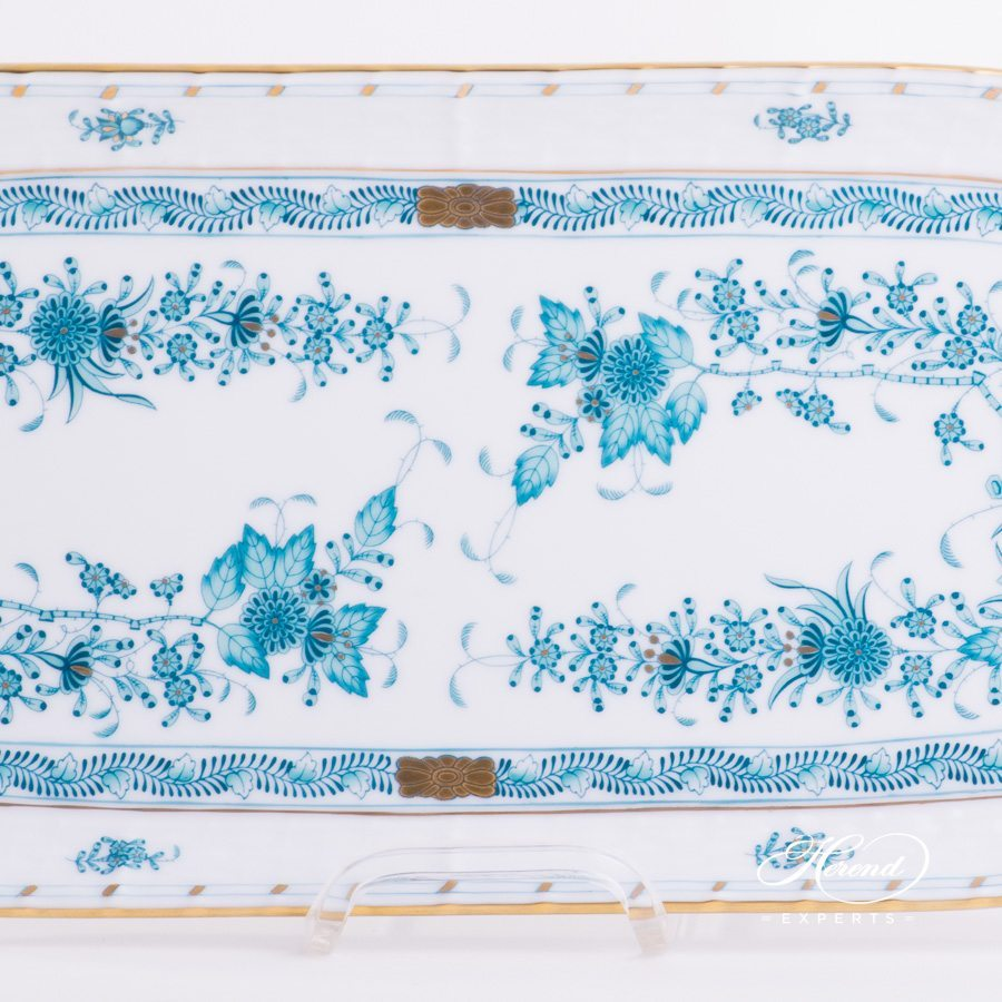 Sandwich Dish 436-0-00 FTQ Indian Basket Turquoise - Fleurs des Indes pattern - Herend porcelain hand painted.