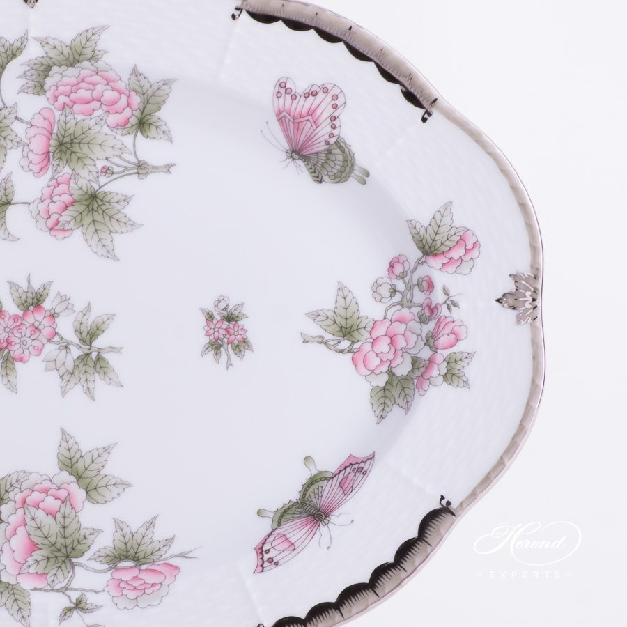 Oval Dish 103-0-00 VBOG-X1-PT Queen Victoria Platinum design. Herend fine china hand painted. Modern style tableware