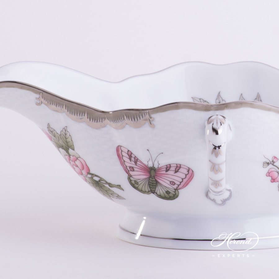 Sauce Boat 220-0-00 VBOG-X1-PT Queen Victoria Platinum design. Herend fine china hand painted. Modern style tableware