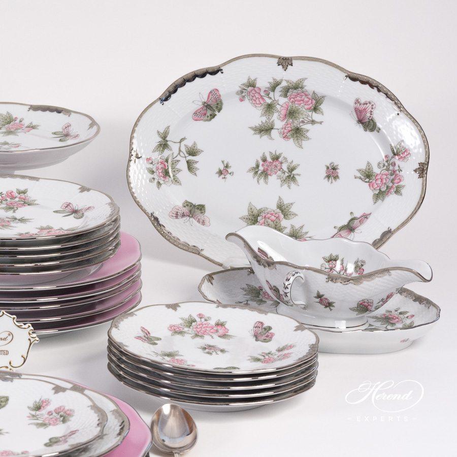 Dinner Set for 6 Persons Queen Victoria Platinum VBOG-X1-PT pattern - Herend porcelain hand painted.