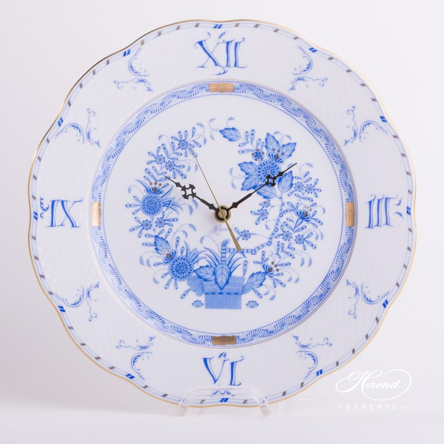 Wall Clock 527-0-47 FB Indian Basket Blue pattern. Herend fine china hand painted. Classic Herend pattern