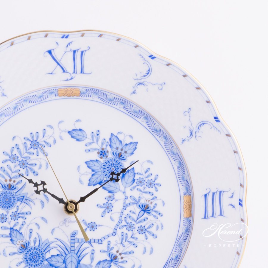 Wall Clock 527-0-47 FB Indian Blue - Fleurs des Indes pattern - Herend porcelain hand painted.