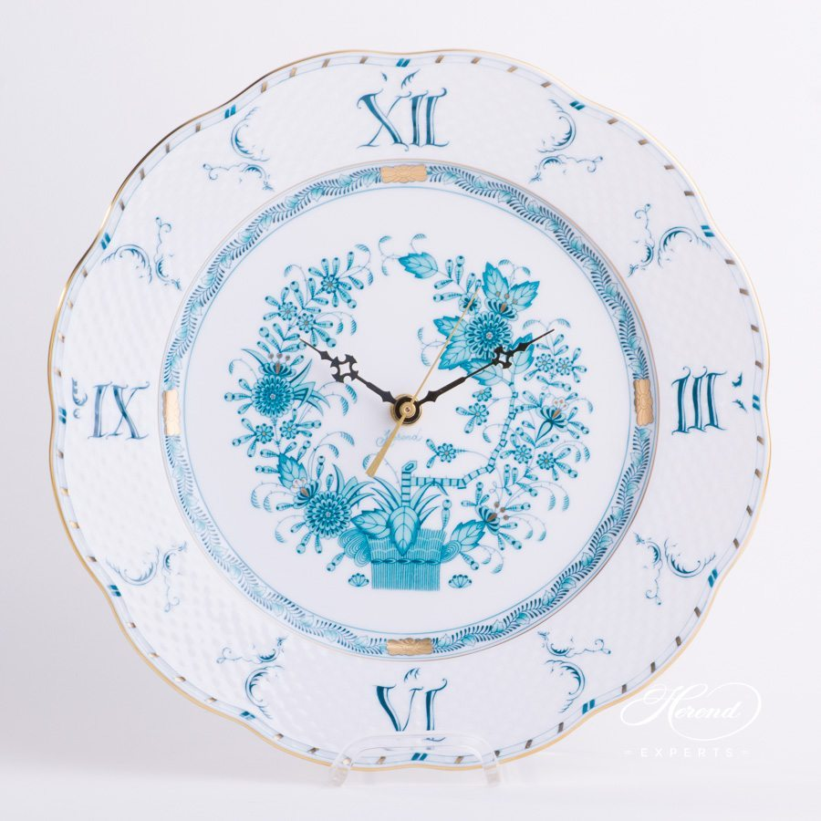 Wall Clock 527-0-47 FTQ Indian Basket Turquoise - Fleurs des Indes pattern - Herend porcelain hand painted.