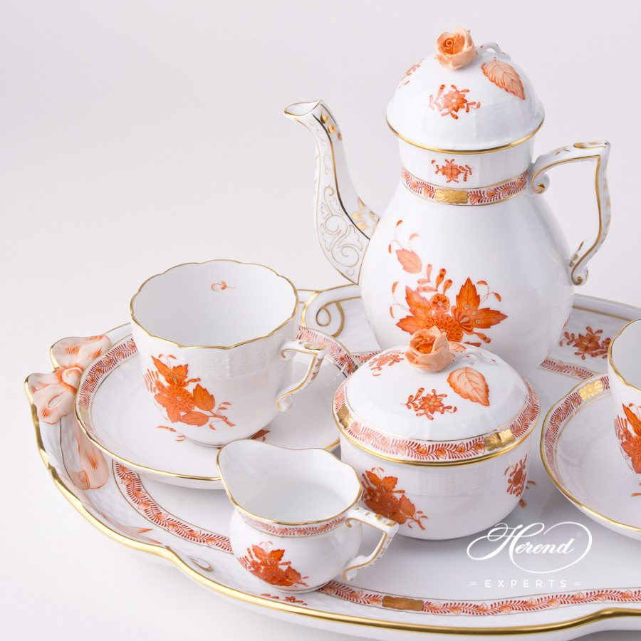 Coffee Set for 2 Persons - Chinese Bouquet Rust / Apponyi Orange - AOG decor. Herend porcelain tableware. Hand painted