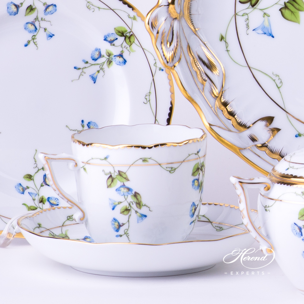 CoffeeCup with Saucer20706-0-00 NY Nyon / Morning Glory design. Herend fine china tableware. Hand painted