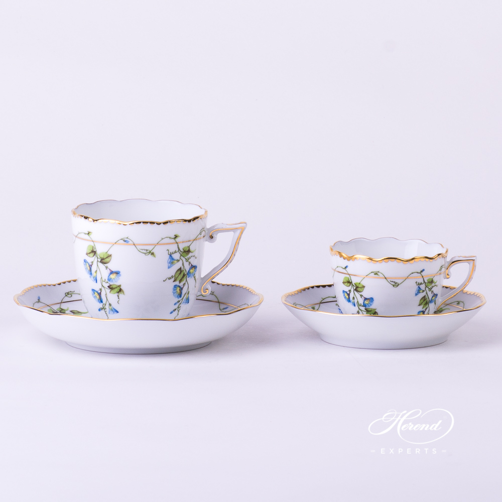 CoffeeCup w. Saucer20706-0-00 NY Nyon / Morning Glory design. Herend fine china tableware. Hand painted