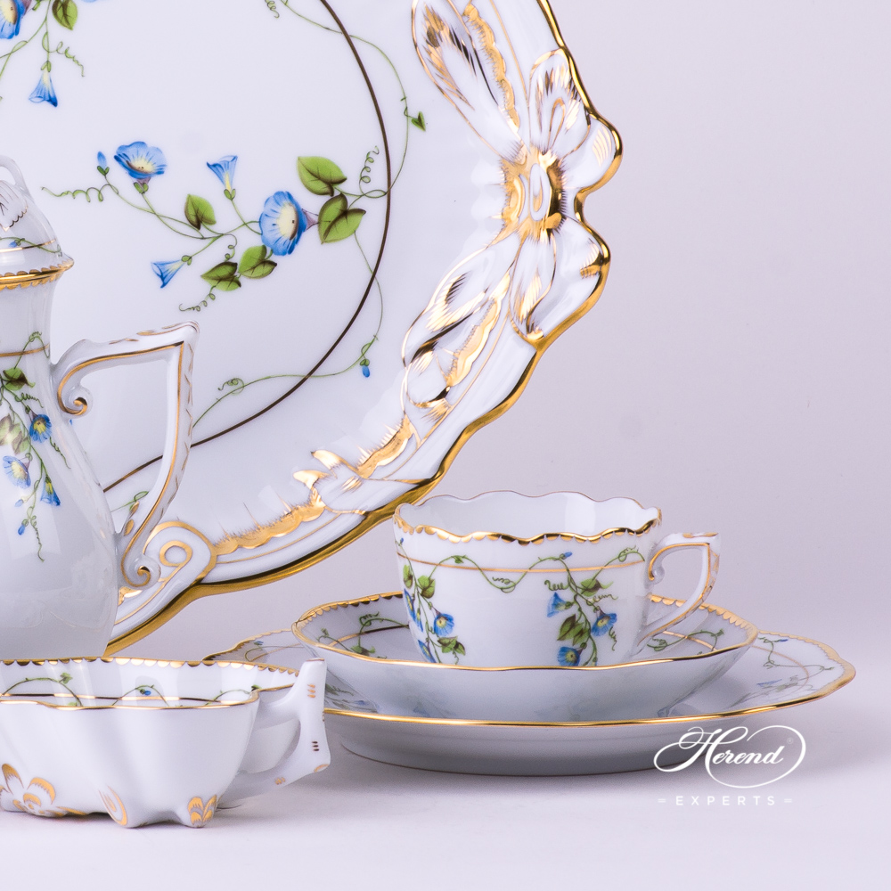 Coffee / Espresso Set for 2 Persons w. Ribbon Tray - Herend Nyon / Morning Glory design. Herend fine china tableware. Hand painted