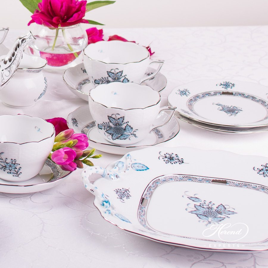Tea Set for 6 Persons Apponyi ATQ3-PT turquoise pattern - Herend porcelain hand painted.