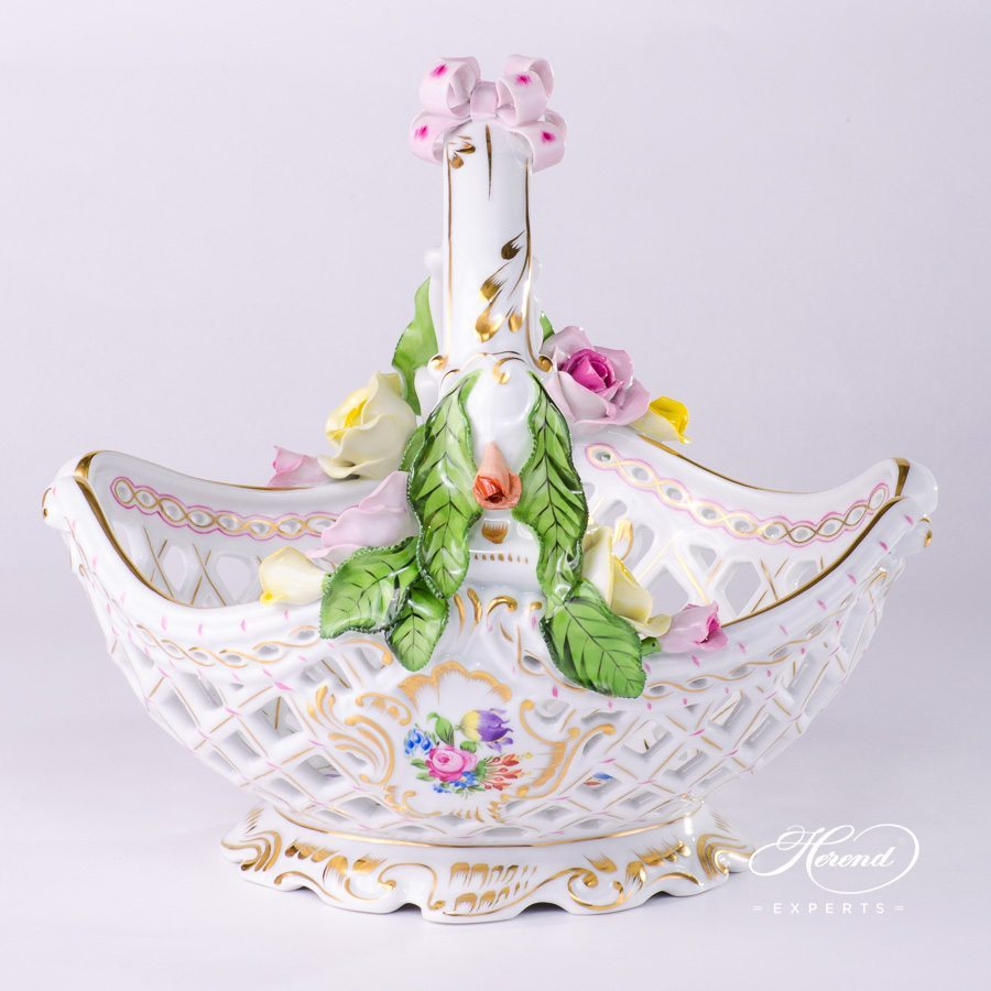 Basket with Handle 7484-0-00 BT Bunch of Tulips pattern - Herend porcelain hand painted.