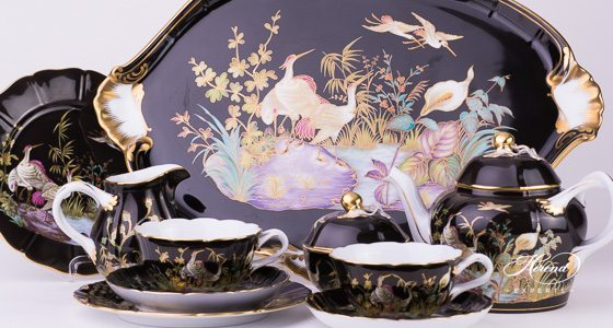 Tea Set for 2 Persons Waterfowl - Black background Special SP1057 pattern - Herend fine china. Limited to: 20 pieces.