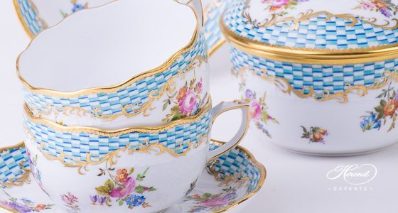 Coffee Set for 4 Persons Flower with Square Scale CBTA pattern - Herend fine china hand painted.