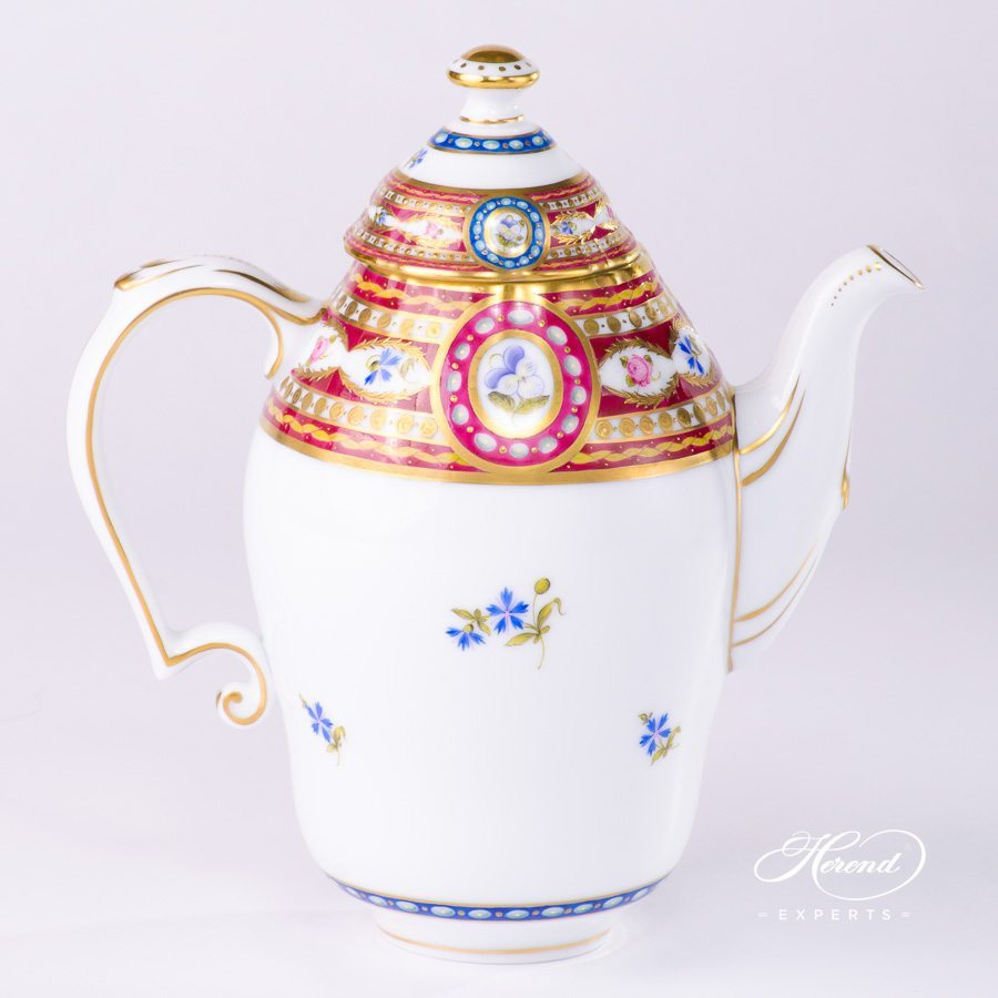 Coffee / Espresso Pot w. Button Knob 3560-0-15 EGAVT Eglantine / Silk Brocade design. Herend fine china